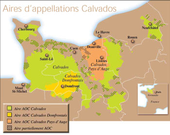 carte des appellations de calvados