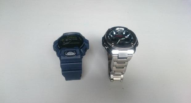 A gauche ma GShock actuelle, à droite en acier, la nouvelle G-Shock G-STeel